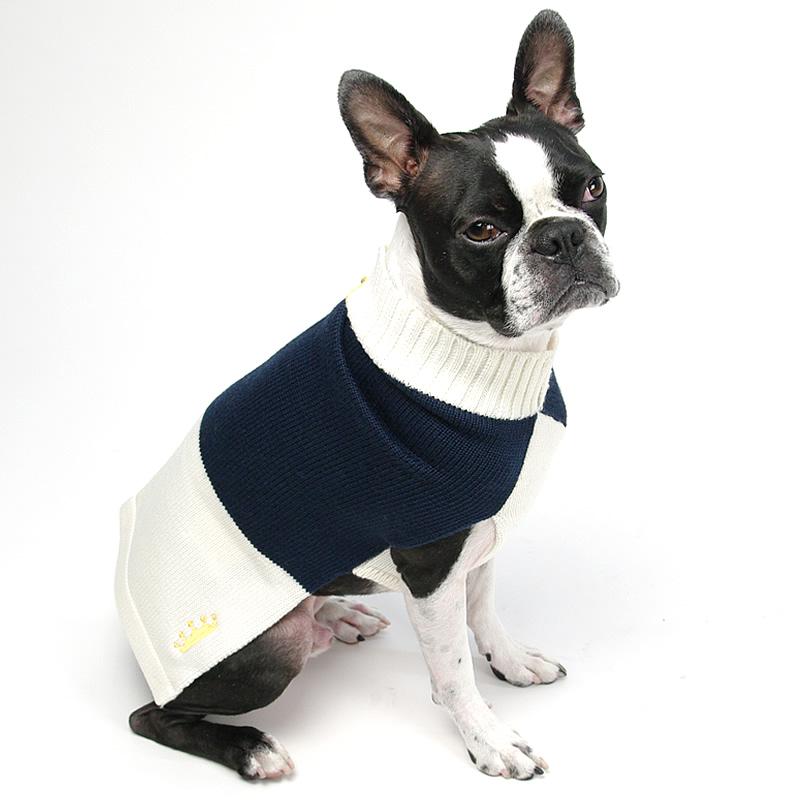 画像1: 【セーター】Mascot カラーブロック・セーター(ネイビー&クリーム)