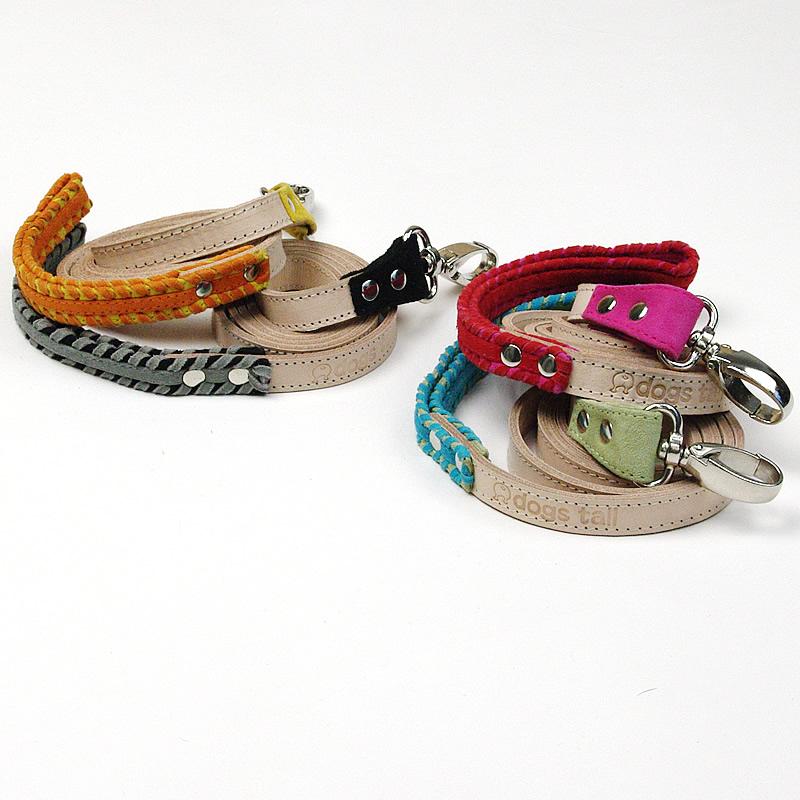 画像1: 【リード】Dogs Tail スウェード リード(緑・ピンク・黒・黄)